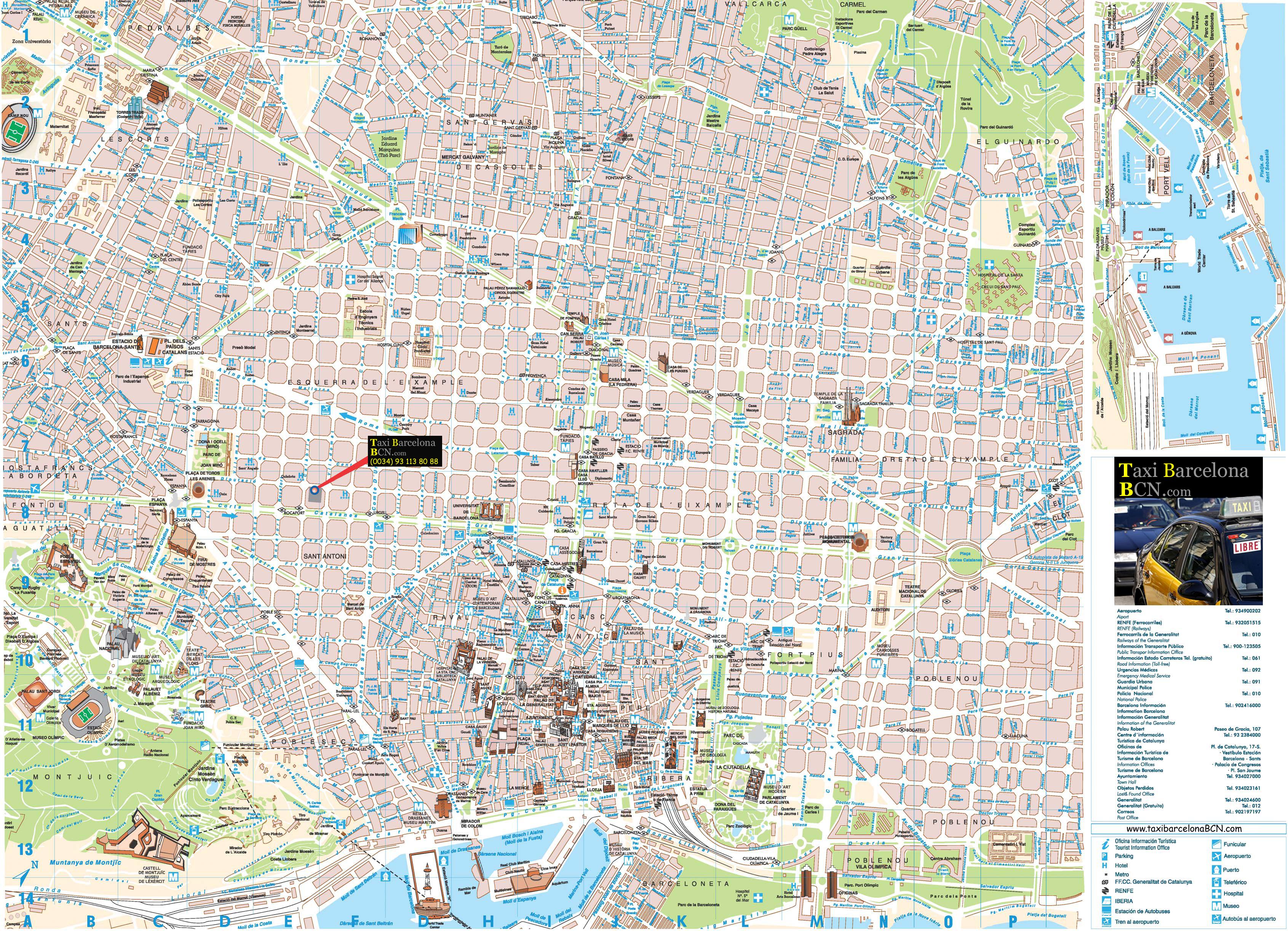 Tarifas Taxi Barcelona Lista de precios vigente 2010 – Barcelona Tourist Map Pdf